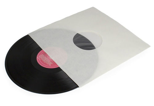 "12"" LP HDPE White Inner Sleeve Anti-Static Polylined 90Gsm ( Square Corner )"