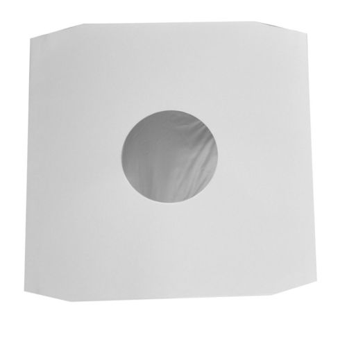 "12"" LP HDPE Cream White Inner Sleeve Polylined Anti-Static 70Gsm Cut Corner"